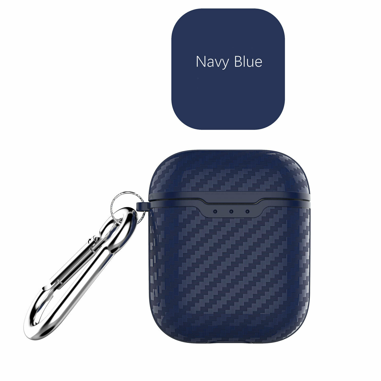 [Indonesia Direct] Carbon Fiber ShockProof for Apple AirPods Soft Protective Case Keychain Buckle blue