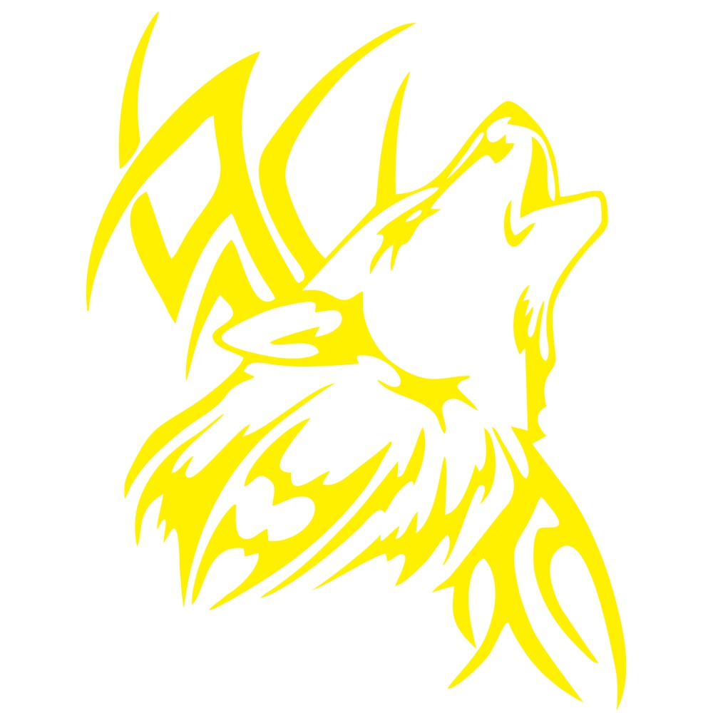 Tattoo Wolf Car Motorcycle Body Stickers Vinyl Car Styling Decal Accessories yellow