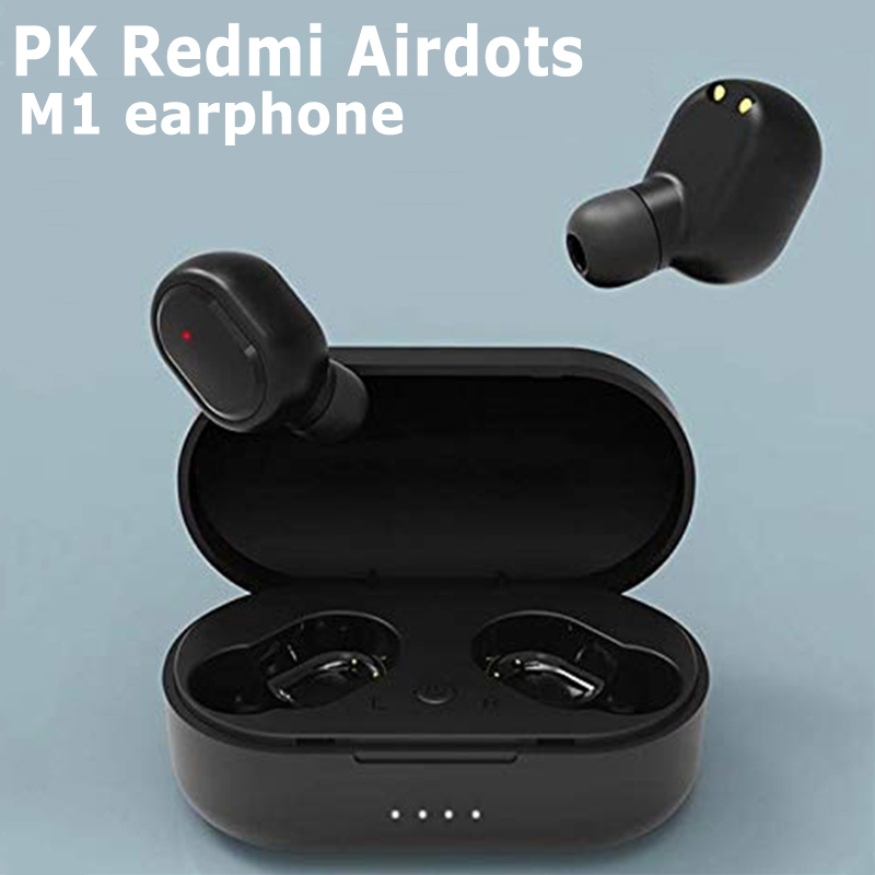 Wireless Bluetooth Headphone Headset With Charging Box for Red Mi Mobile Phone black