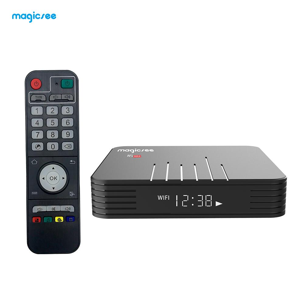 N5 Max Amlogic TV BOX S905X3 Android 9.0 4G 32G/64G Rom 2.4+5G Dual Wifi Bluetooth4.1 Smart Box 8K Set Top Box black_4 + 64GB British regulations