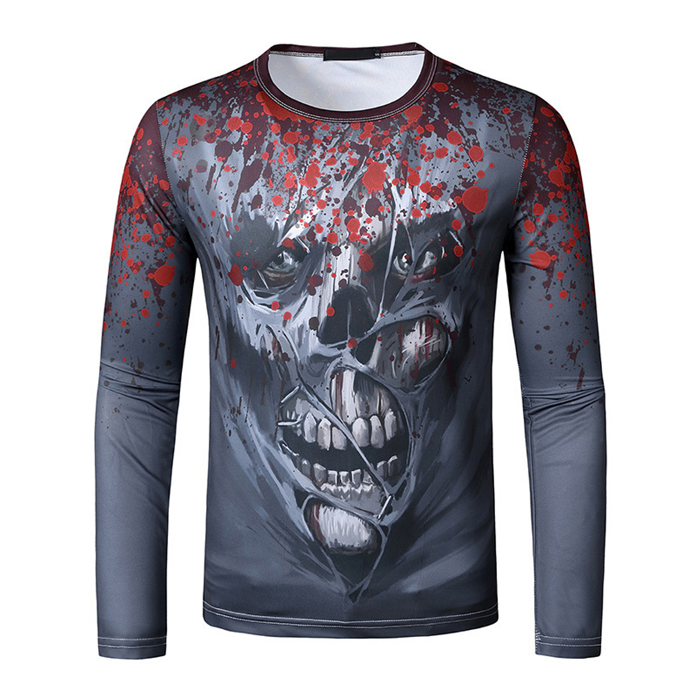 Men Long Sleeve T-shirt 3d Digital Printing Halloween Series Horror Theme Long Sleeved Round Neck Shirt Grey _L