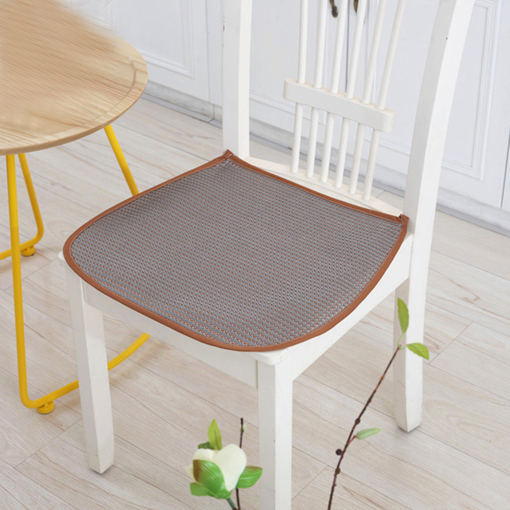 3D Ice Silk Seat Pad Cool Breathable Soft Dining Chair Cushion with Straps 42*44cm gray_42 * 44cm