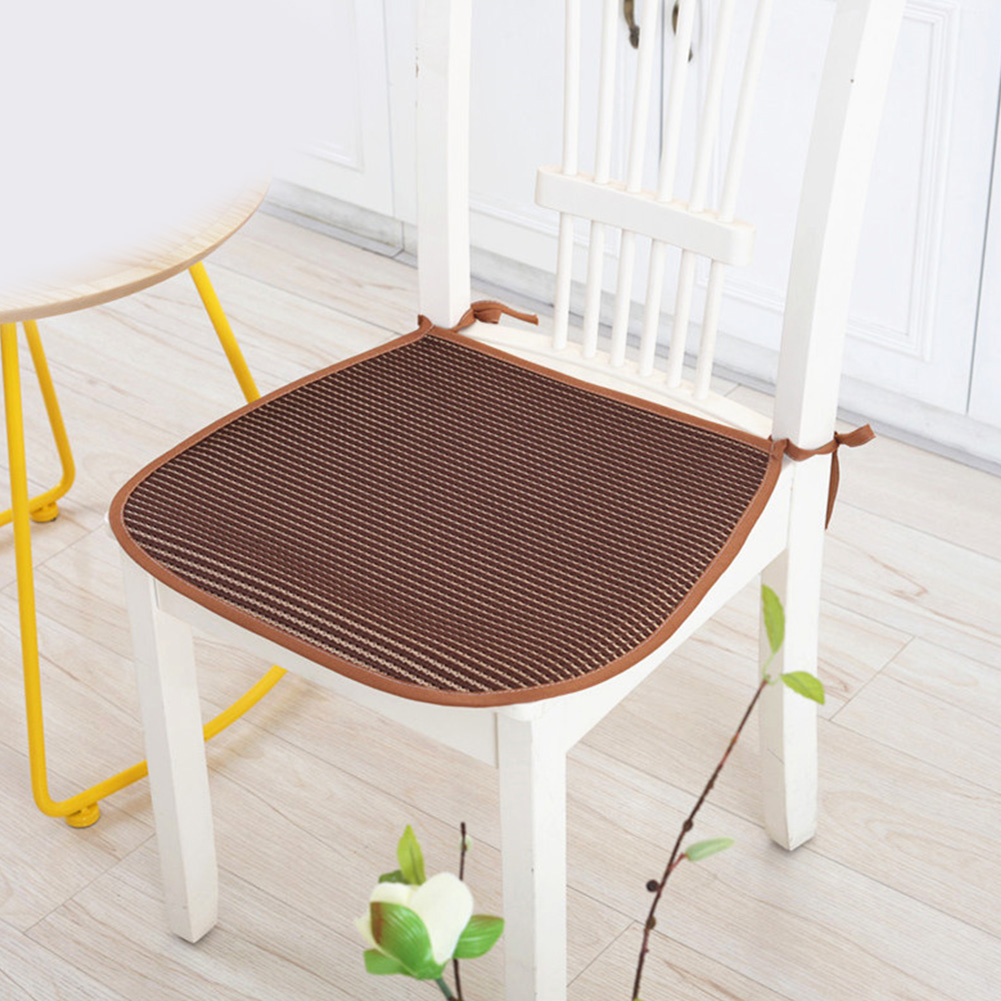 3D Ice Silk Seat Pad Cool Breathable Soft Dining Chair Cushion with Straps 42*44cm coffee_42 * 44cm