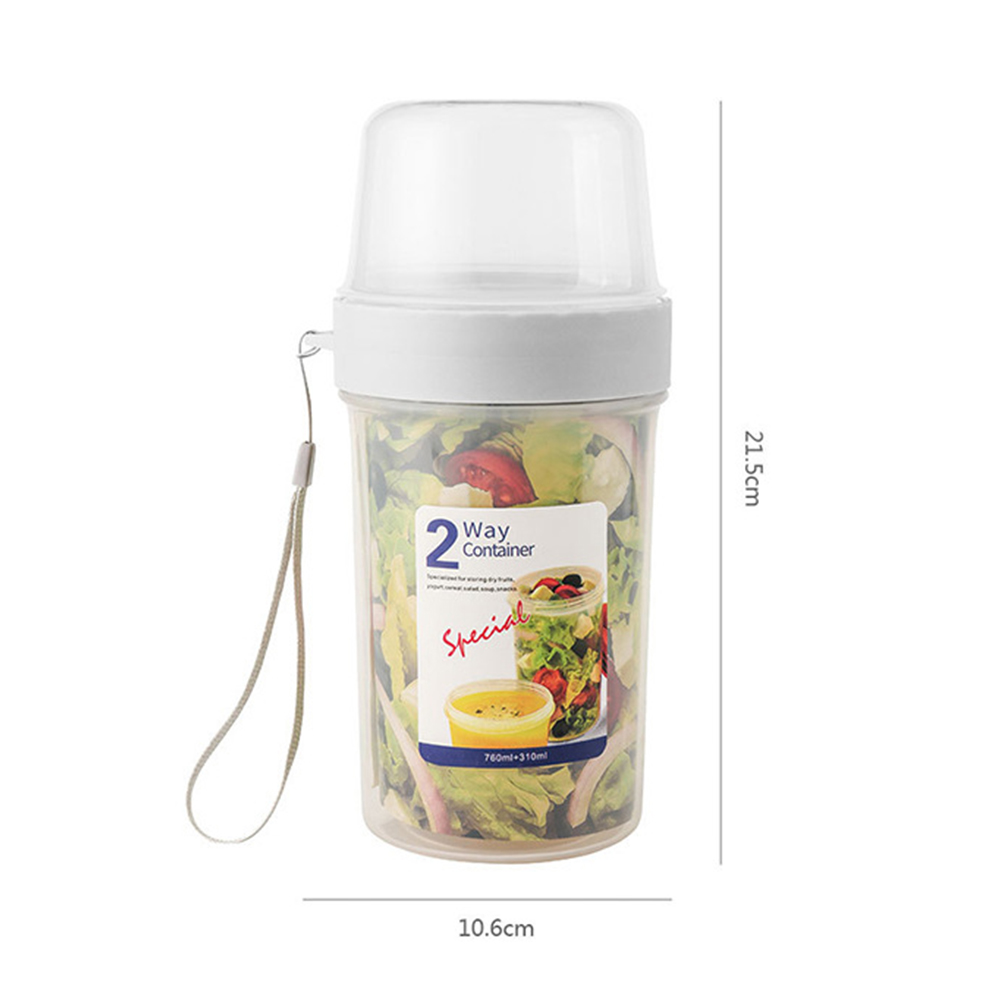 Double-layer Sealed Storage Bottle Portable Transparent Fresh-keeping Moisture-proof Nut Food Container Jar 310 + 760ml