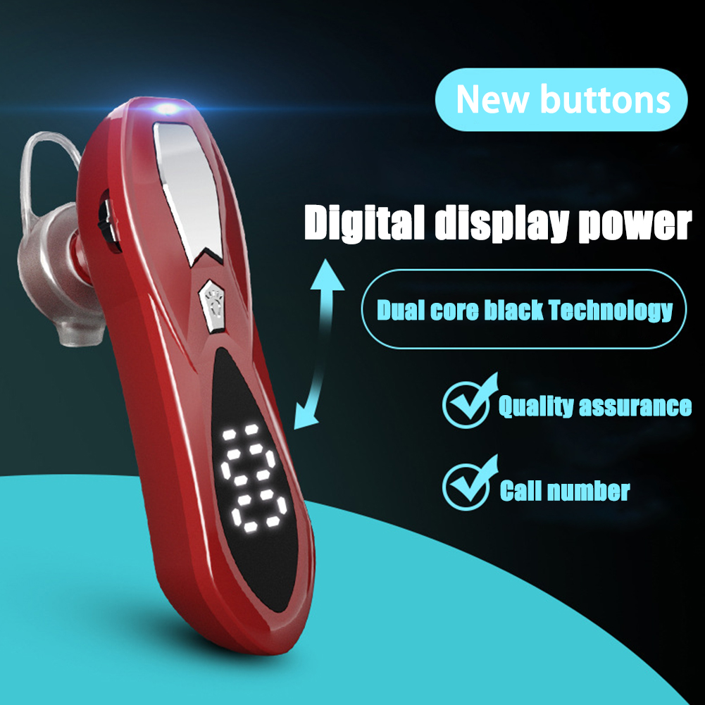 Wireless 5.0 Bluetooth Headset Unilateral Long Standby Running Sports Digital Display Headset red
