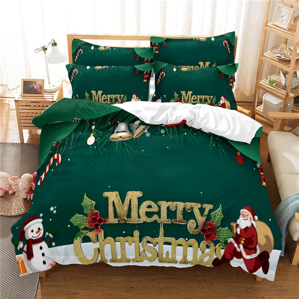 2Pcs/3Pcs Full/Queen/King Quilt Cover +Pillowcase 3D Digital Printing Christmas Series Beeding Set Queen