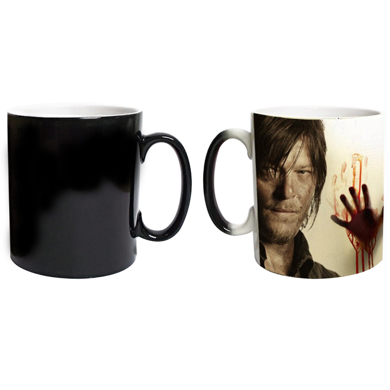 [EU Direct] Walking Dead Print Heat Changing Coffee Mug Ceramics Discoloration Water Cup
