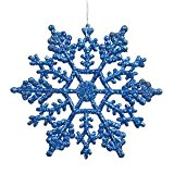 [EU Direct] Vickerman Plastic Glitter Snowflake, 4-Inch, Blue, 24 Per Box