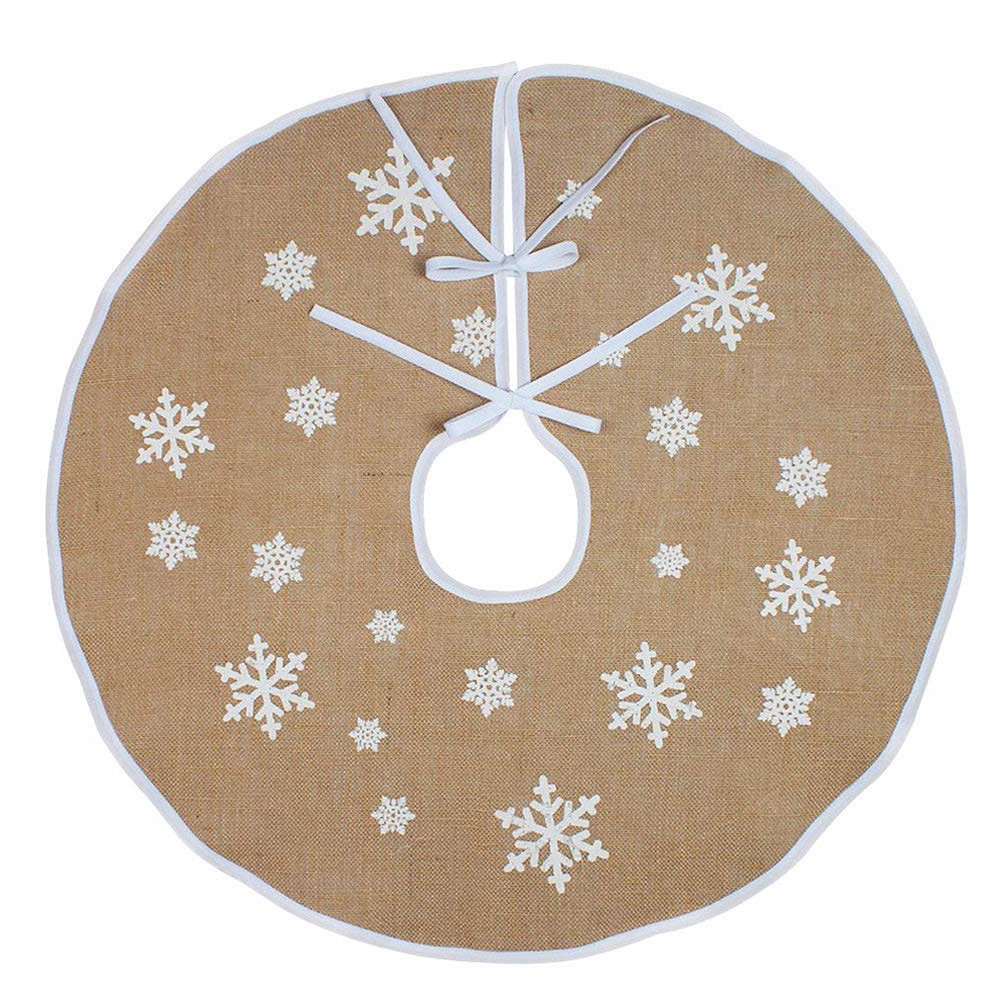 48Inches White Snowflower Printing Burlap Christmas Tree Skirt for Indoor Outdoor Ornament  120CM