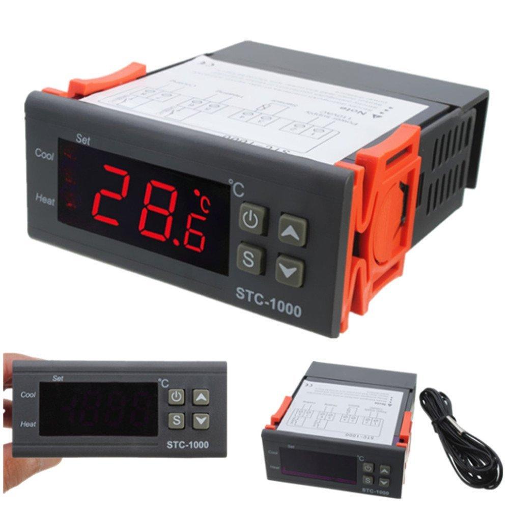 12V/24V/110V/220V STC-1000 Digital Temperature Controller Thermostat NTC K Gray Orange 220V