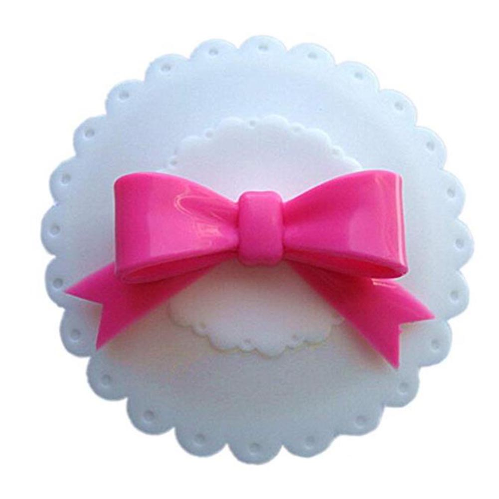 Lovely Bowknot Round Shape Sealing Silicone Cup Cover Decoration white