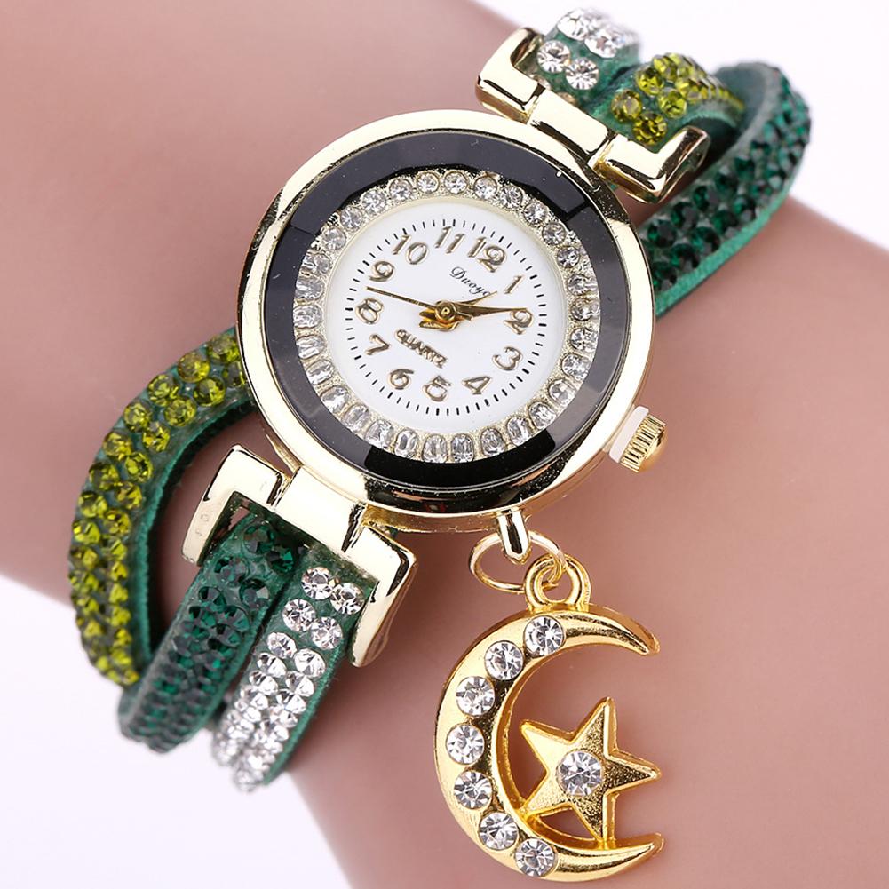 Women Fashion Exquisite Rhinestone Quartz Watch Creative Star Moon Pendant Bracelet Decoration