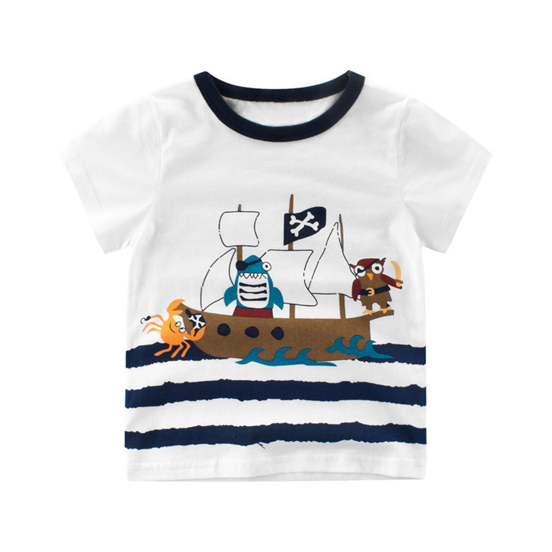 Summer Kids T Shirt Boy Cartoon Ship Captain Cotton Tops Tee Baby Short Sleeve Casual Clothes