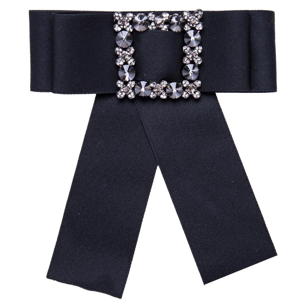 Women Bowknot Corsage Brooch Breastpin Multi-layered Square Alloy Inlaid Rhinestone Valentine's Day Gift black