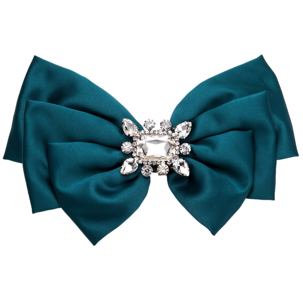 Women Bowknot Corsage Brooch Breastpin Multi-layered Alloy Inlaid Rhinestone Valentine's Day Gift green