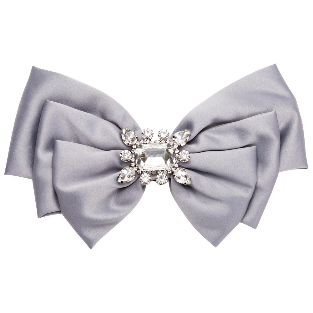 Women Bowknot Corsage Brooch Breastpin Multi-layered Alloy Inlaid Rhinestone Valentine's Day Gift gray