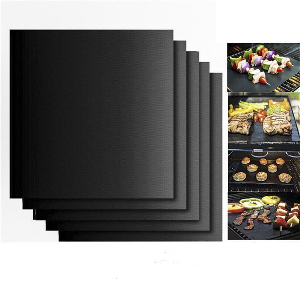 5pcs/set Barbecue  Mat Glass Fiber Grill Pad Non-stick High Temperature Resistant Thin black_330*400*0.2mm