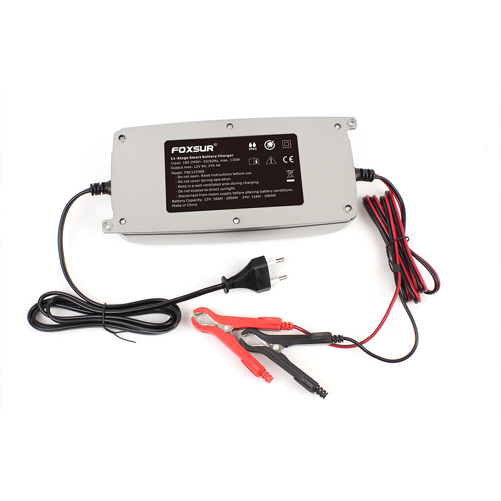 12v 24v Car Battery Charger With Lcd Display 11-stage Smart Battery Charger Truck Waterproof Lead-acid Battery Charger Silver
