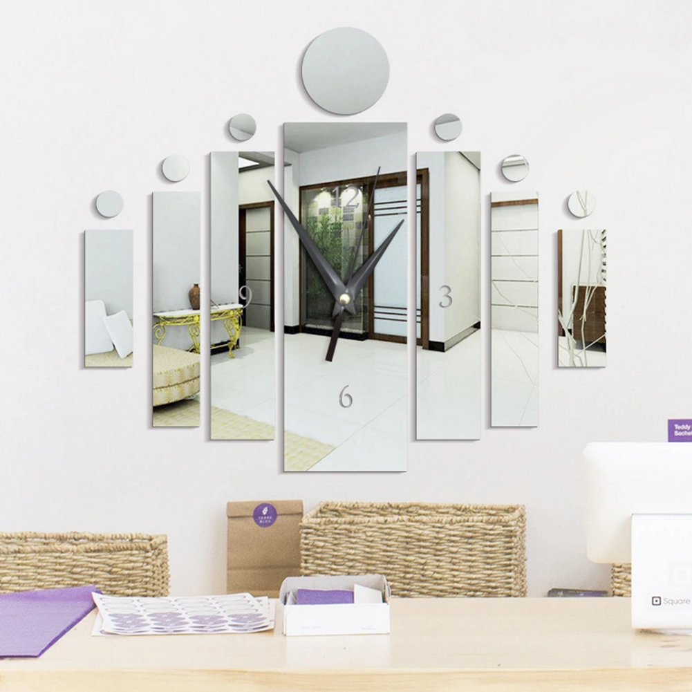 Elegant Acrylic Mirror-Surface Noiseless Clock Wall Sticker Set DIY Art Mural Home Decoration Wall Clock  Silver