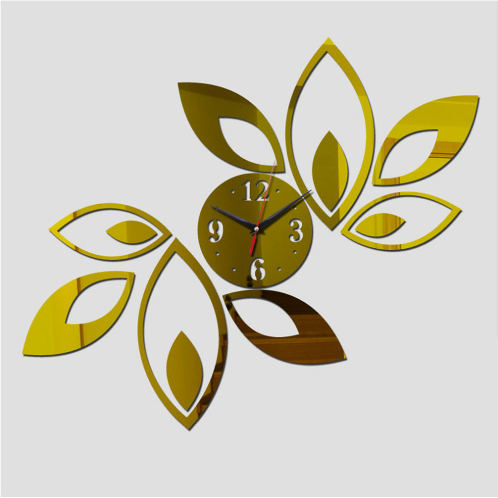 13PCS 3D Elegant Mirror-Surface Clock Wall Sticker Set DIY Art Mural Home Decoration Wall Clock  Gold