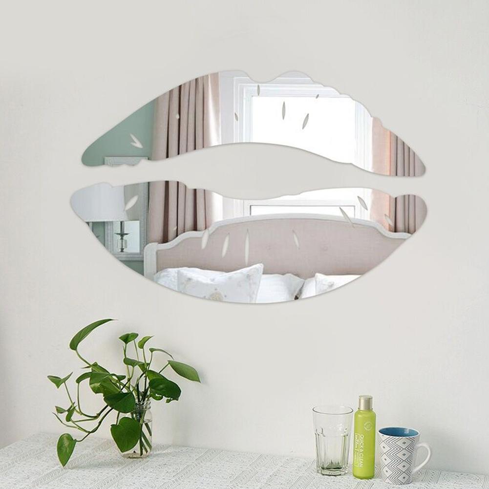 Creative Lip Shape Mirror-Surface Wall Sticker Home Decoration Wall Ornament Silver