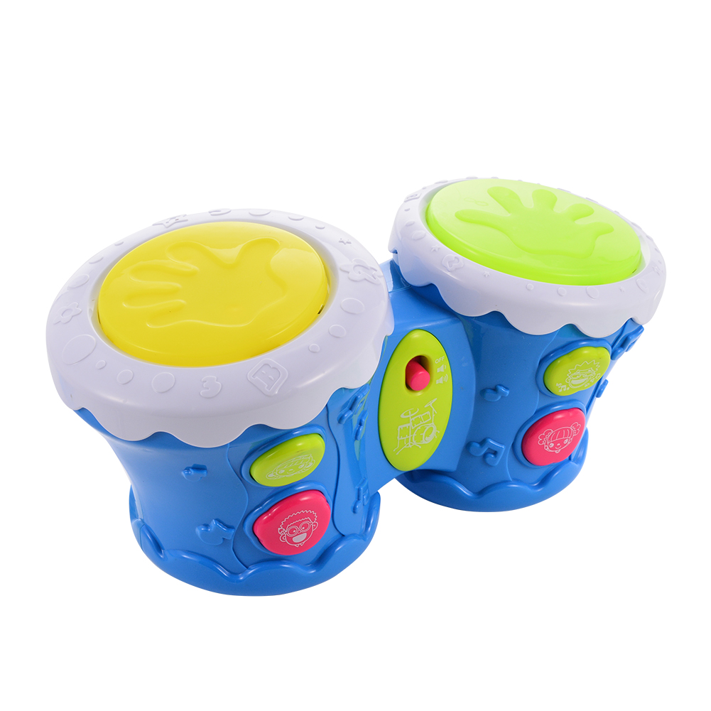 [US Direct] Kids Musical Drum Toy Baby Bongo Drum with Light