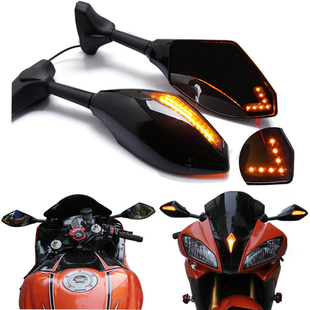 Motorcycle Double LED Turn Lights Side Mirrors Turn Signal Indicator Rearview Mirror For Honda Suzuki Kawasaki Ducati Yamaha  black_Pointed double lamp