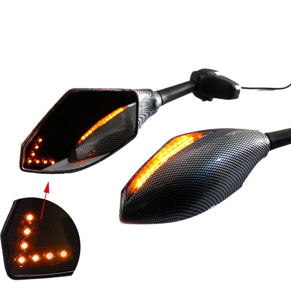 Motorcycle Double LED Turn Lights Side Mirrors Turn Signal Indicator Rearview Mirror For Honda Suzuki Kawasaki Ducati Yamaha  Snake pattern_Pointed double lamp