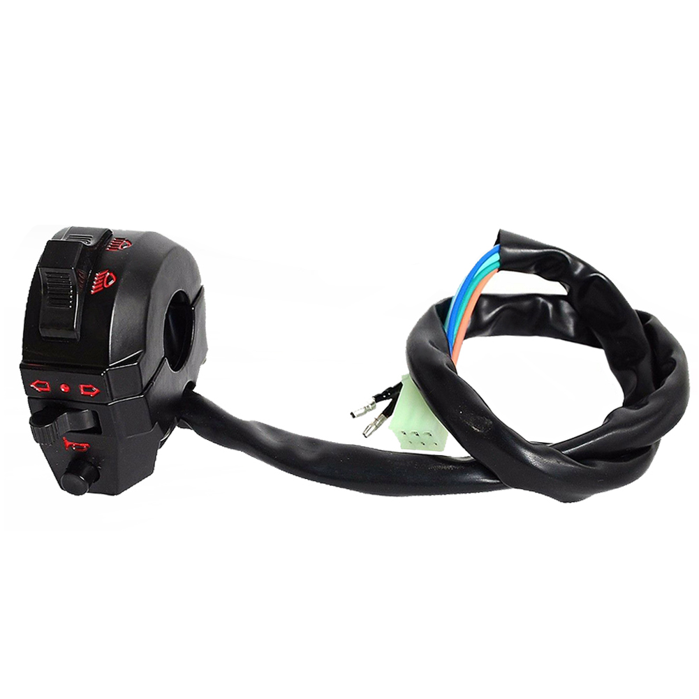 Motorcycle Function Switch Turn Signal Horn Lighting Black ABS Left Switch As shown