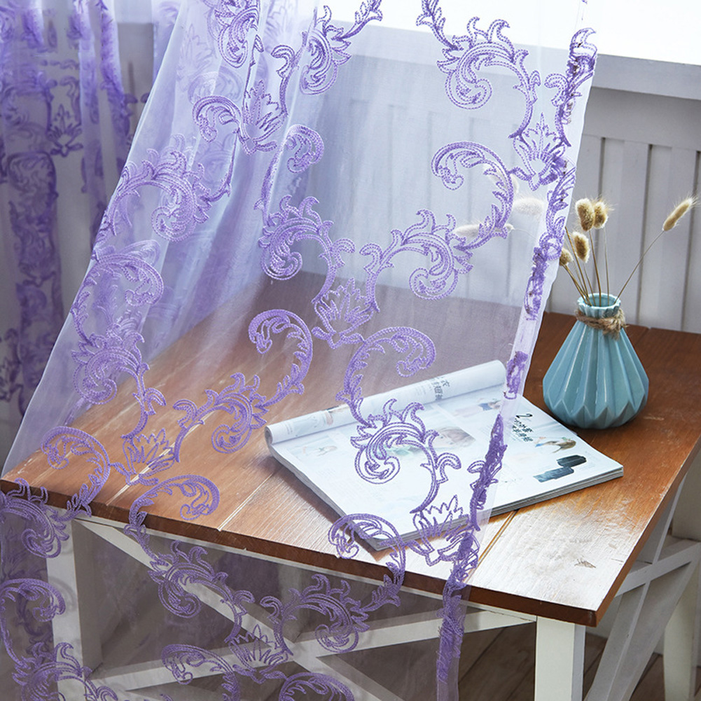 Tulle Curtain with Phoenix Tail Embroidery for Home Living Room Bedroom Shading Purple (Anemone-glass yarn)_W100cm * H250cm