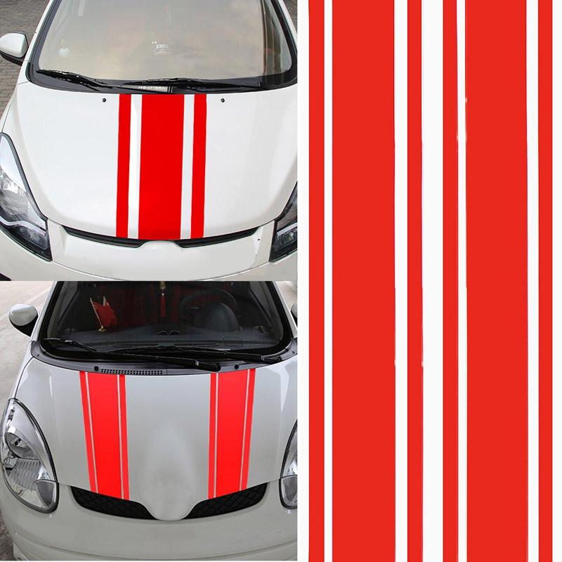 2pcs/set 72 inch x3 inch DIY Black Car Body Vinyl Racing Stripe Pinstripe Decal Stickers red