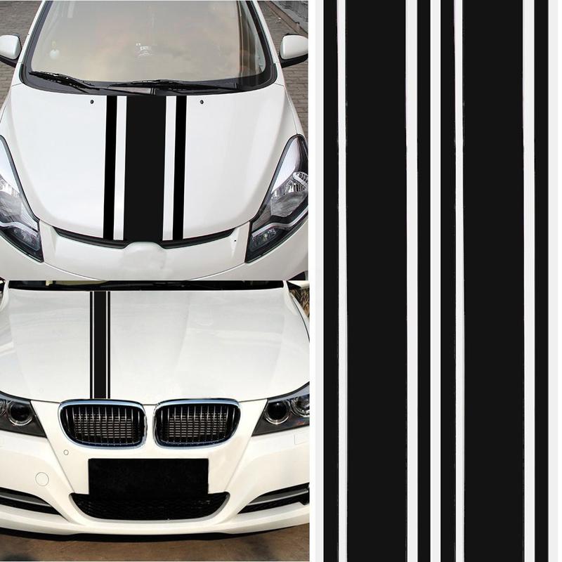 2pcs/set 72 inch x3 inch DIY Black Car Body Vinyl Racing Stripe Pinstripe Decal Stickers black