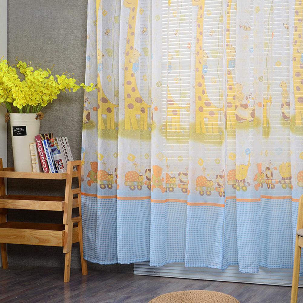 Modern Tulle Curtain Window Gauze for Living Room Bedroom Kids Room Shading blue_1.4 meters wide x 2.4 meters high