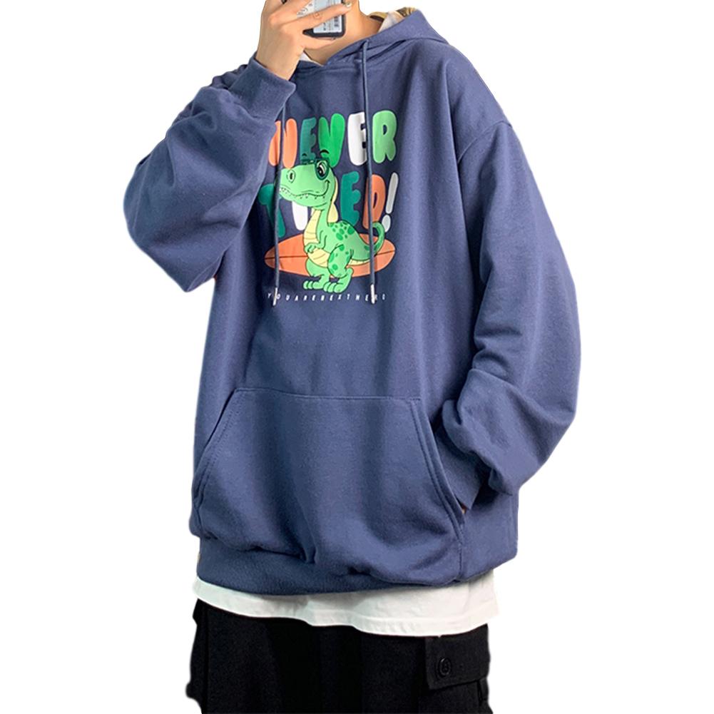 Men's Hoodie Loose Thin Animal Printed Long-sleeve Hooded Sweater Dark blue _L