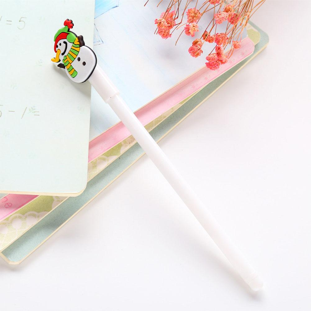 0.38mm Christmas Black Neutral Pen Cartoon Snowman Bear Sock House Deer Gel Pen white snowman_0.38mm