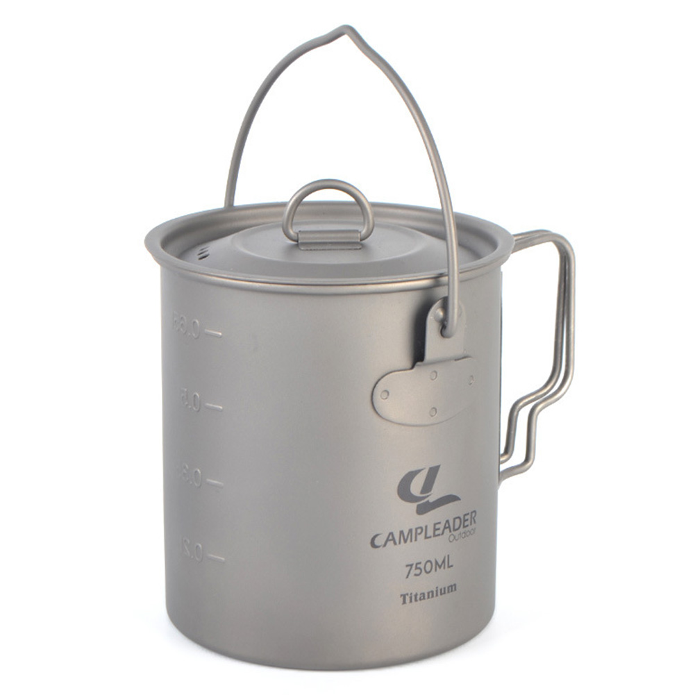 Outdoor Camping Titanium Pot Hanging Pot with Cover Foldable Portable Picnic Titanium Pot 750ML Titanium hanging pot 750ml