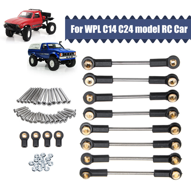 For WPL 1/16 C14 C24 RC Car Upgrade Replacement Part Metal Suspension Toe Link Tie Rod Set Parts & Accs as shown
