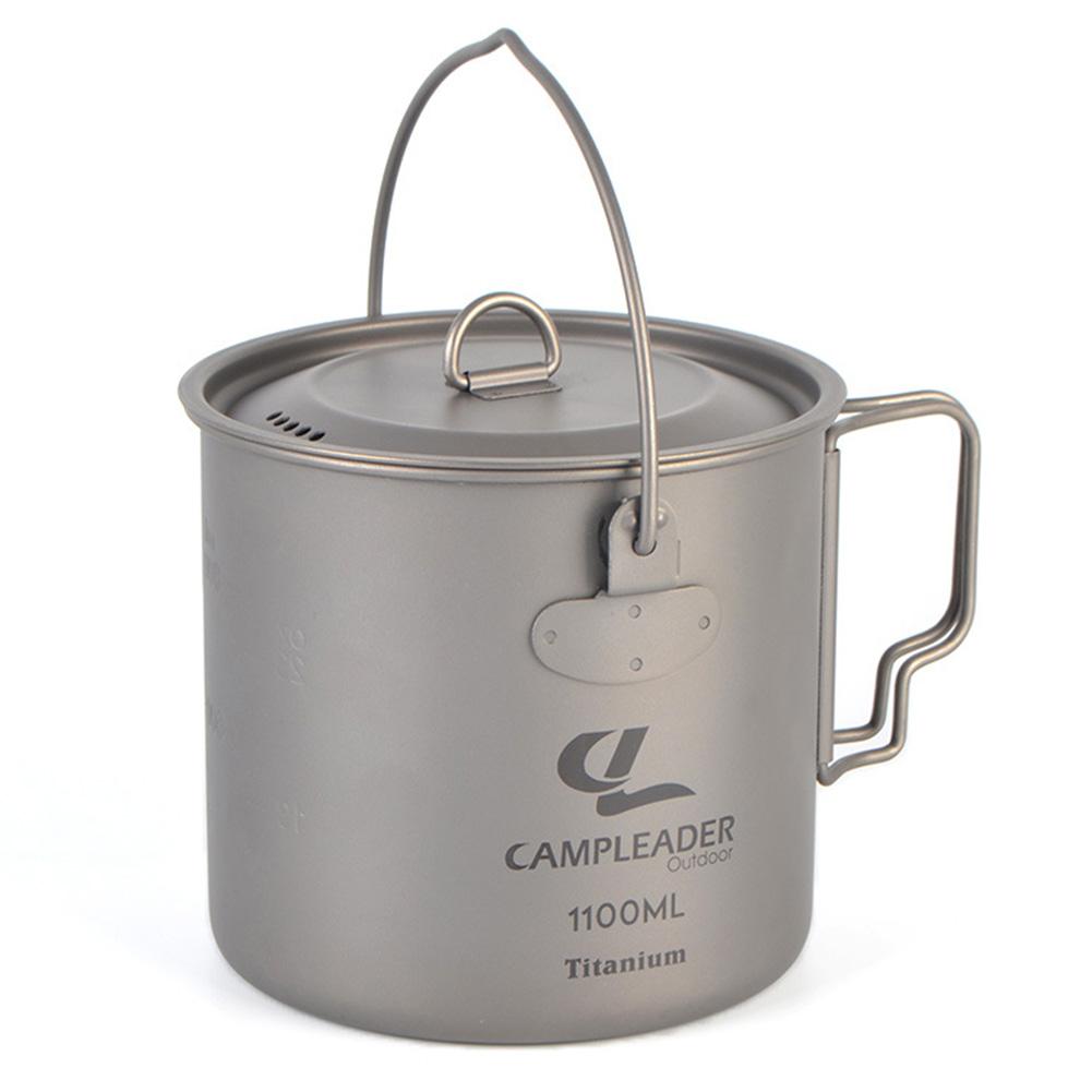 Outdoor Camping Titanium Pot Foldable Portable Pot with Cover Solos Titanium Pot Hanging Pot 1100ML Titanium hanging pot 1100ml
