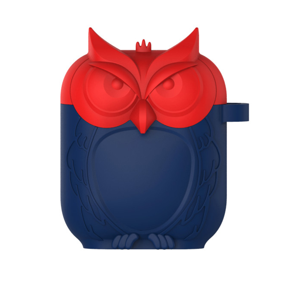 Owl Shape Airpods Case Cover - Red and Blue