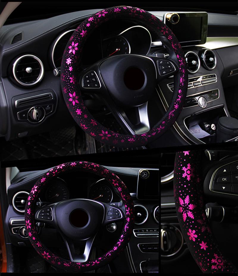 Car Steering Wheel Cover Shiny Snowflake Anti-slip for 37-38CM Car Steering-Wheel purple_38cm