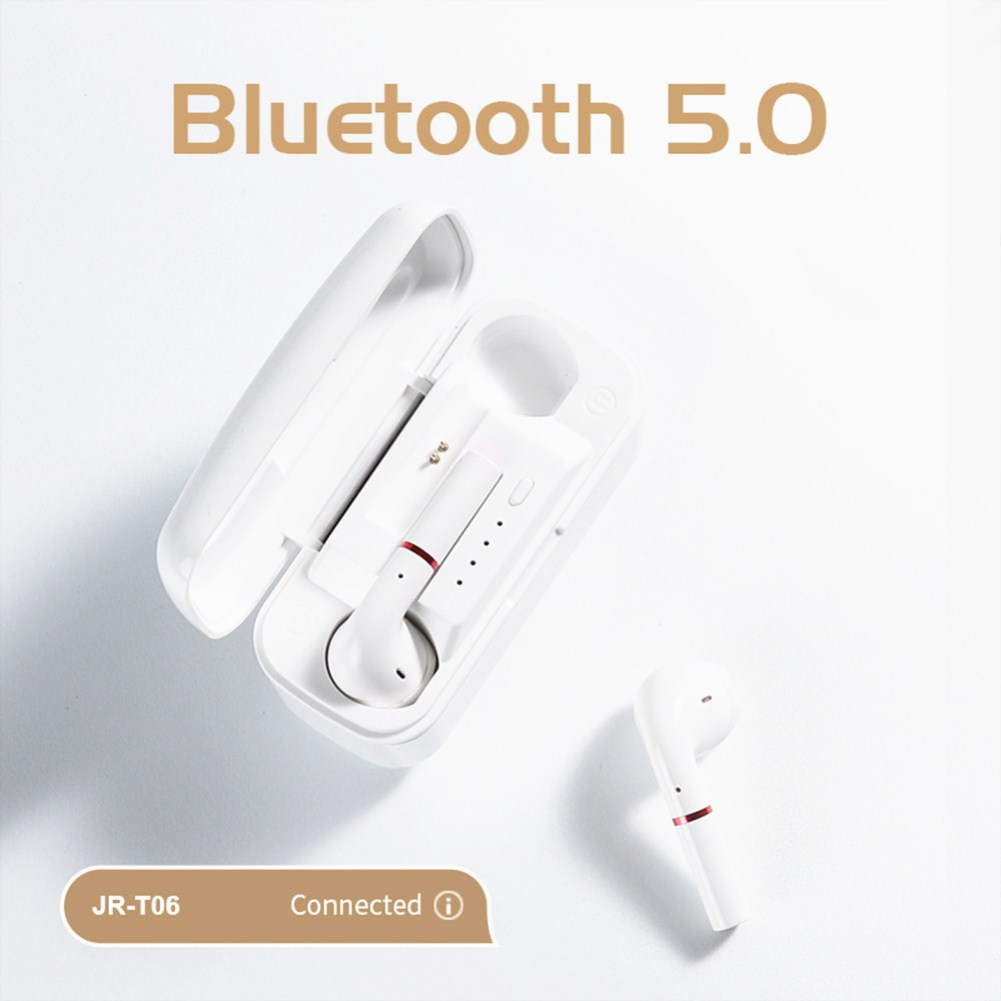T06 Bluetooth 5.0 Touch Control Earphones for Both Ears 2500mAh Charging Case Wireless Headset T06-white