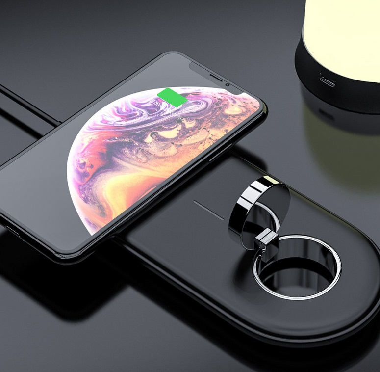 2-in-1 Wireless Charger 10W Fast Charging for Apple iWatch/iPhone/AirPods Charging Station Dock Holder  black