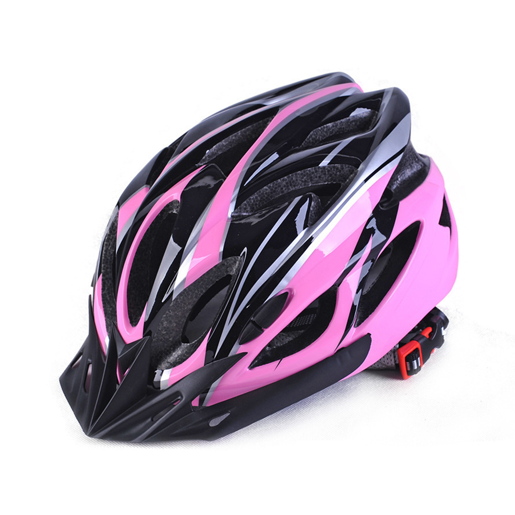 Men and Women Cycling Helmet Integrally-molded for Mountain Road and Sports Black pink_One size