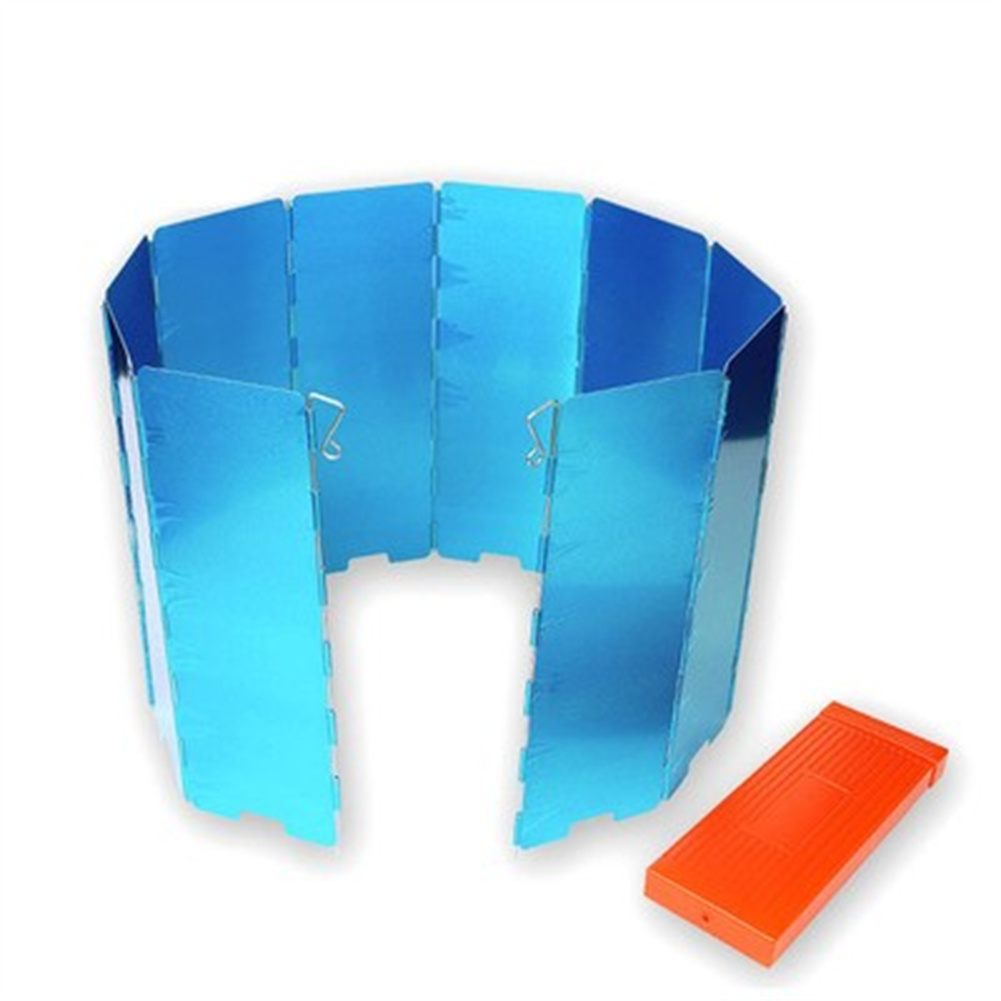 10pcs Outdoor Grill  Windshield With Film Box Foldable Windshield For Camping Picnic Blue film box