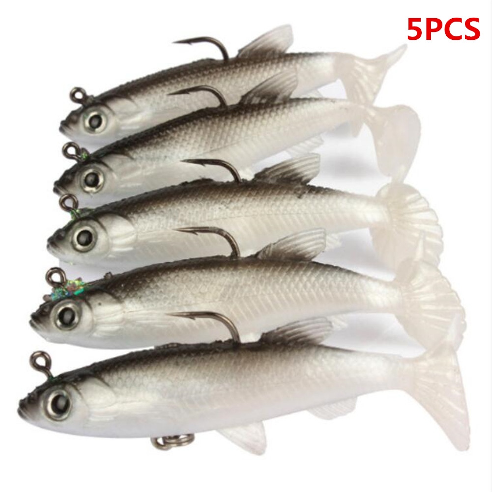 5PCS 14.2g Sea Bass Lead Fishing Lures Bass with T Tail Soft Fishing Lure Single Hook