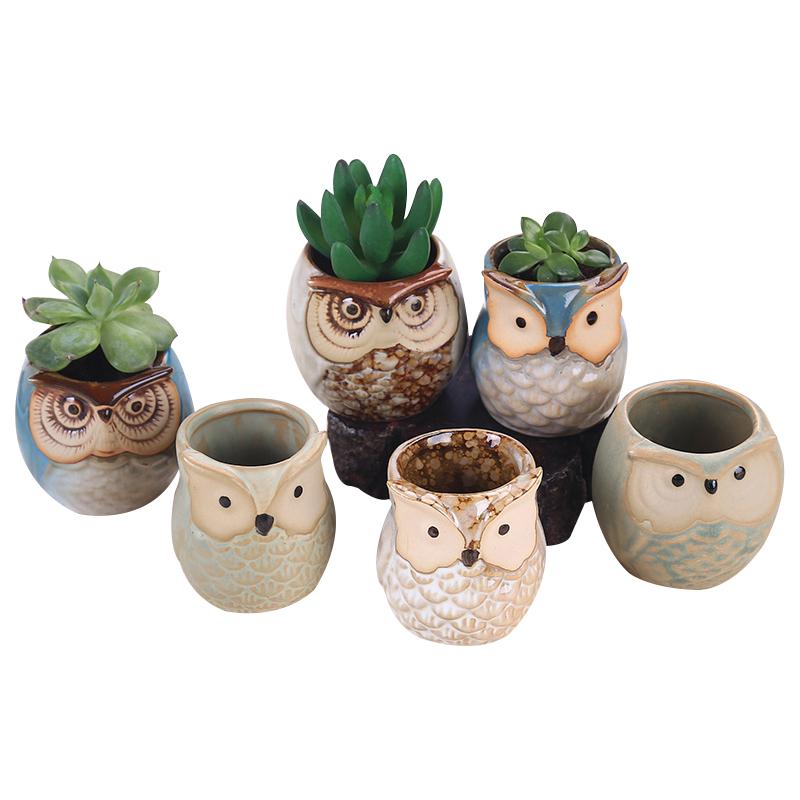 6pcs Ceramic Owl Plant Pot Flowing Glaze Base Creative Flower Container as Decorations 25.5 * 18 * 9cm_6pcs