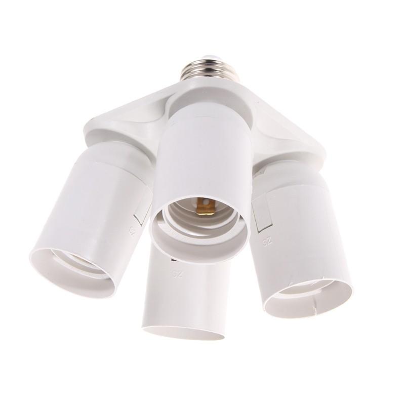 4 E27 Base Sockets in 1, Splitter Light Lamp Bulb Adapter Holder Practical Lamp Base E27
