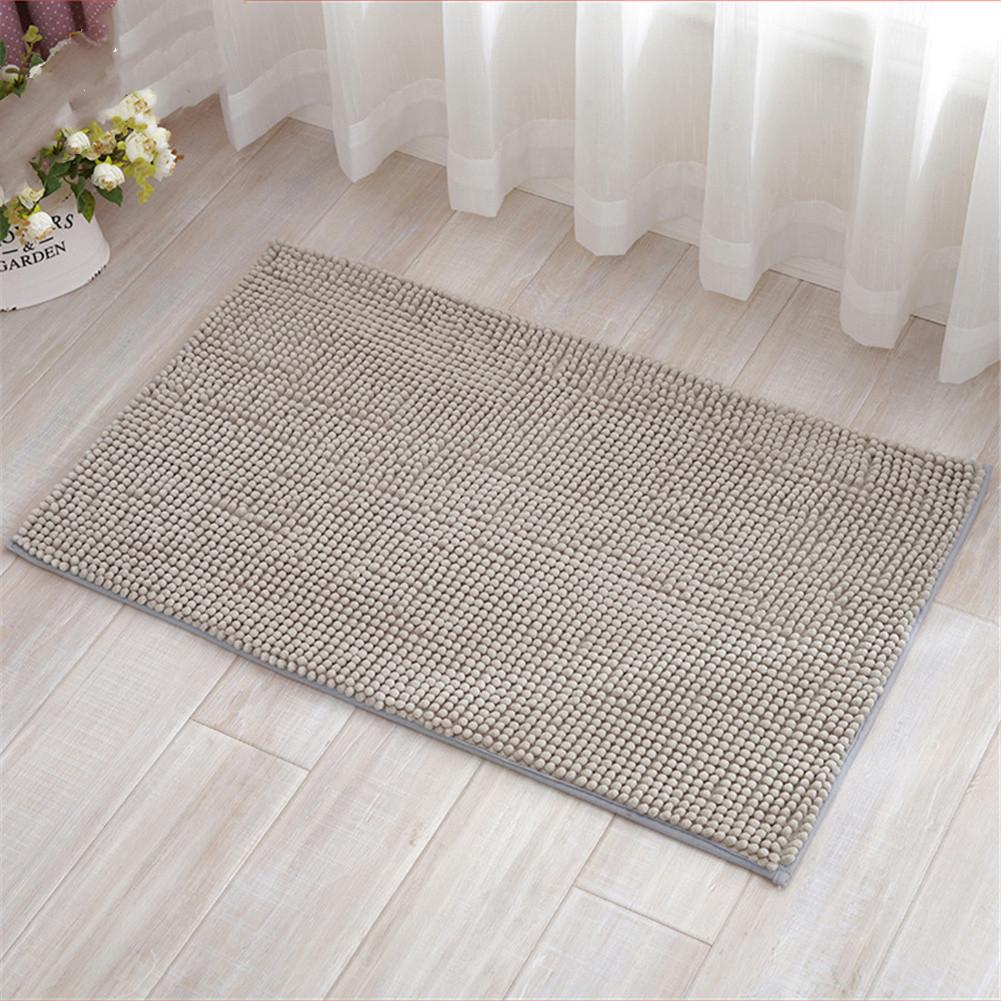 Chenille Bath Mat Non-Slip Water Absorption Floor Mat for Kids Bathroom Shower Mat Area Rugs  light gray_50*80cm