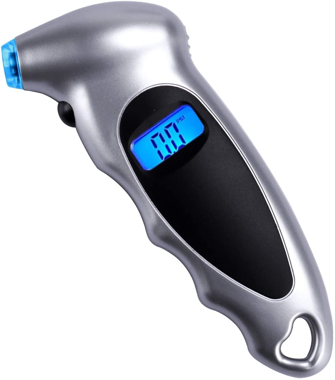 Digital Tire Pressure Gauge Backlit Lcd Handheld Multifunctional Tire Pressure Gauge For Cars Trucks Bicycles silver