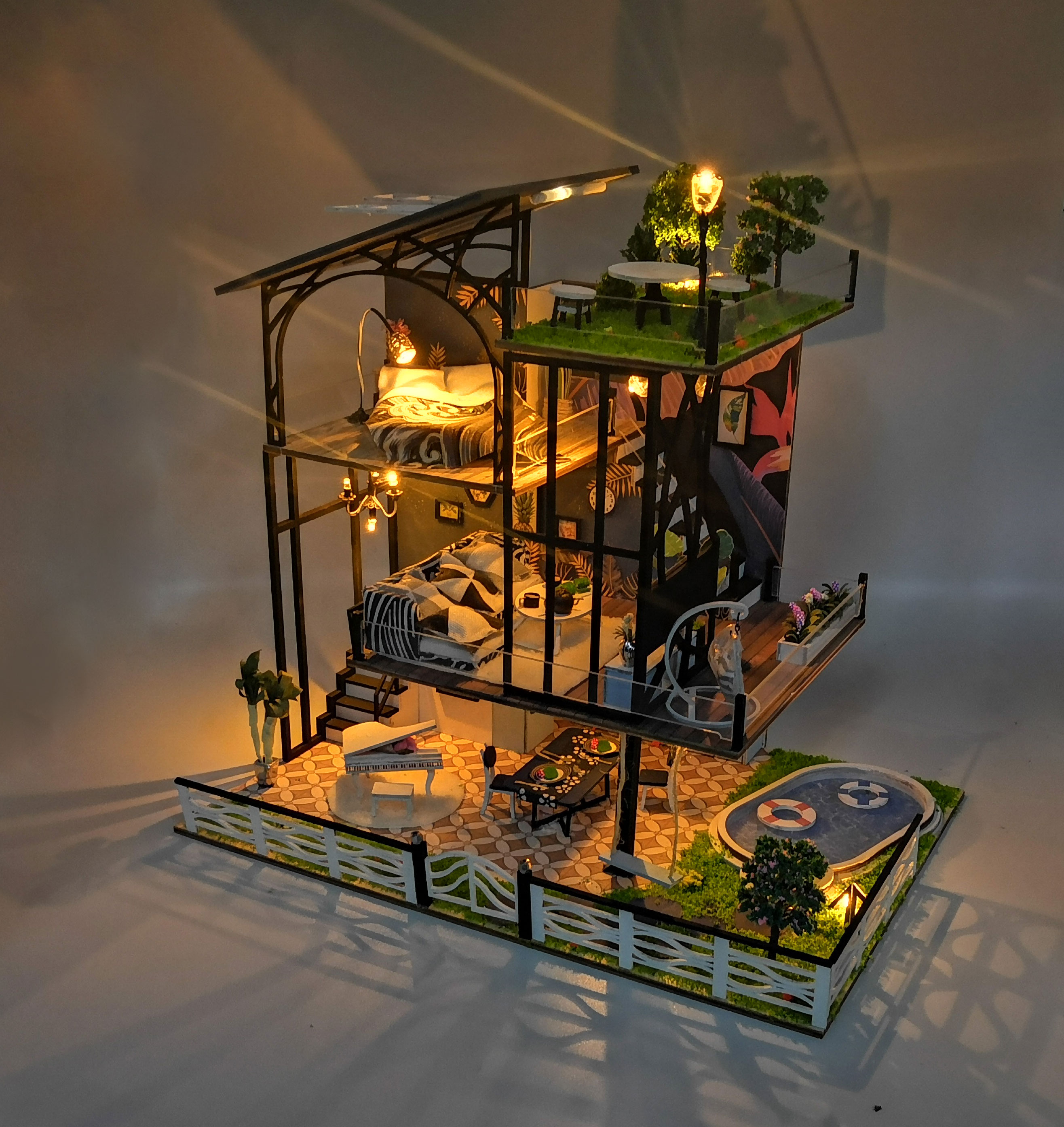 DIY Doll House Simulation 3D Wooden Dollhouse Kids Puzzle Toy with Light 3002